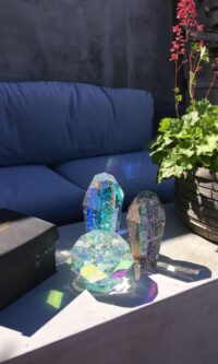 Styling photo of Devine candle holder, giftbox and Crystal Rocks