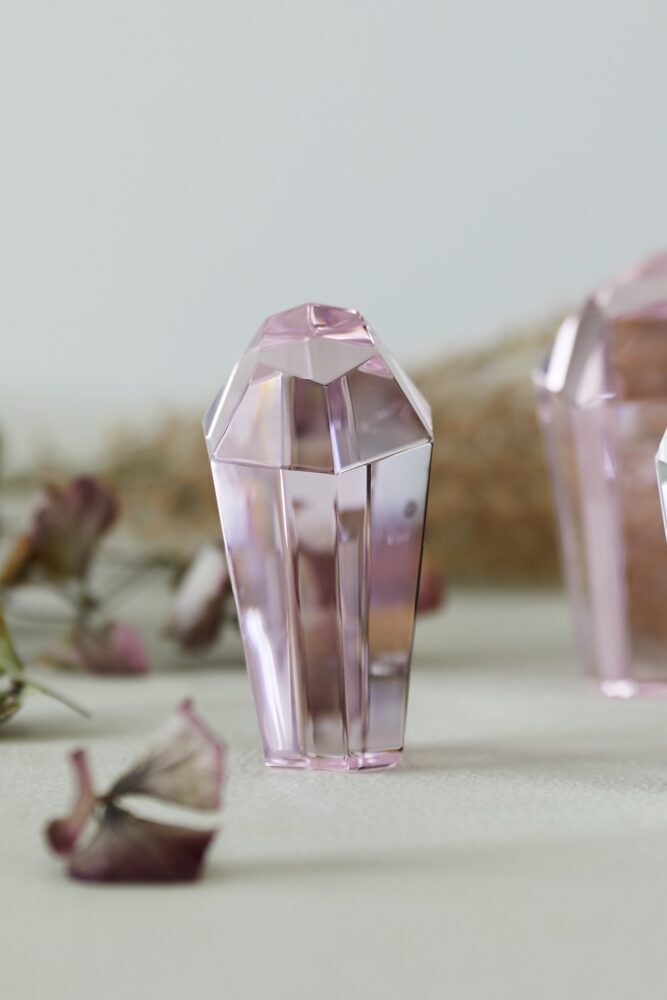 Styling photo of mini Crystal Rock in pink