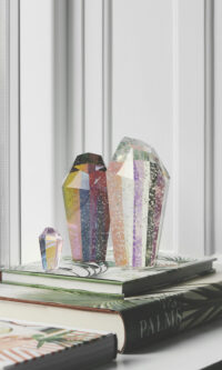 Picture of styled Crystal Rocks on books